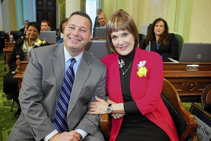 Assemblyman Allan Mansoor, left, and Diana Carey, who was named the 2014 Woman of the Year for state Assembly District 74.