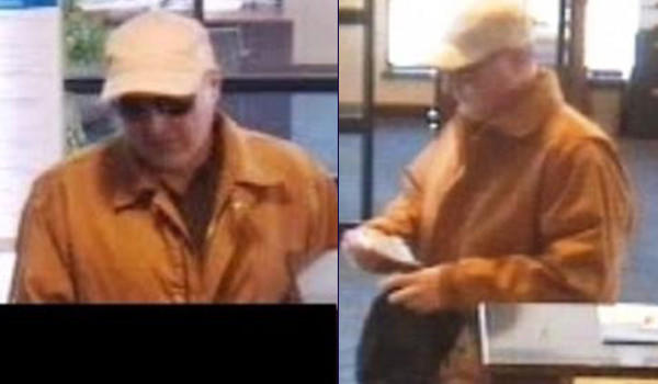 Surveillance photos of a man who robbed a First Merit Bank branch, 700 W. North Ave., in Elmhurst, Monday afternoon. The photo on the left was cropped by the FBI to keep a bank employee's picture out of the photo.