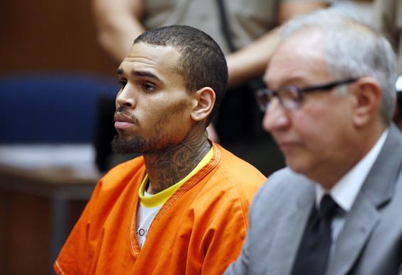 Singer Chris Brown appears in court with his attorney Mark Geragos on Monday for a probation violation hearing.