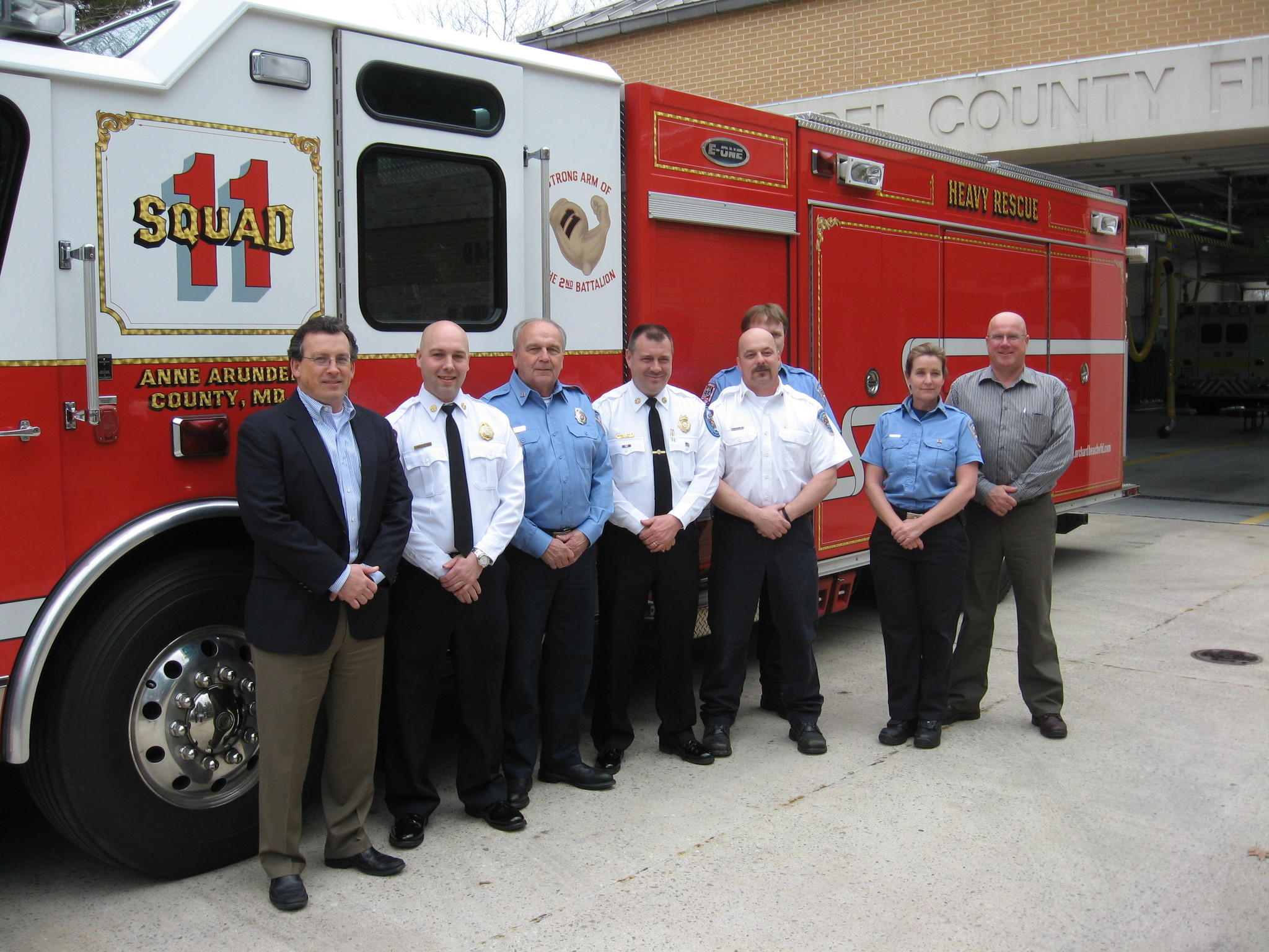 Pictured, from left, are Exelon Industrial Services Vice President Glen Robinson, Orchard Beach Chief James Evans, Company President Walt Snyder, Anne Arundel County Fire Chief Michael Cox, Lt. Frank Smith, volunteer firefighters Wayne Snyder and Susan Kirby and Senior Safety Consultant Dennis Conlan.