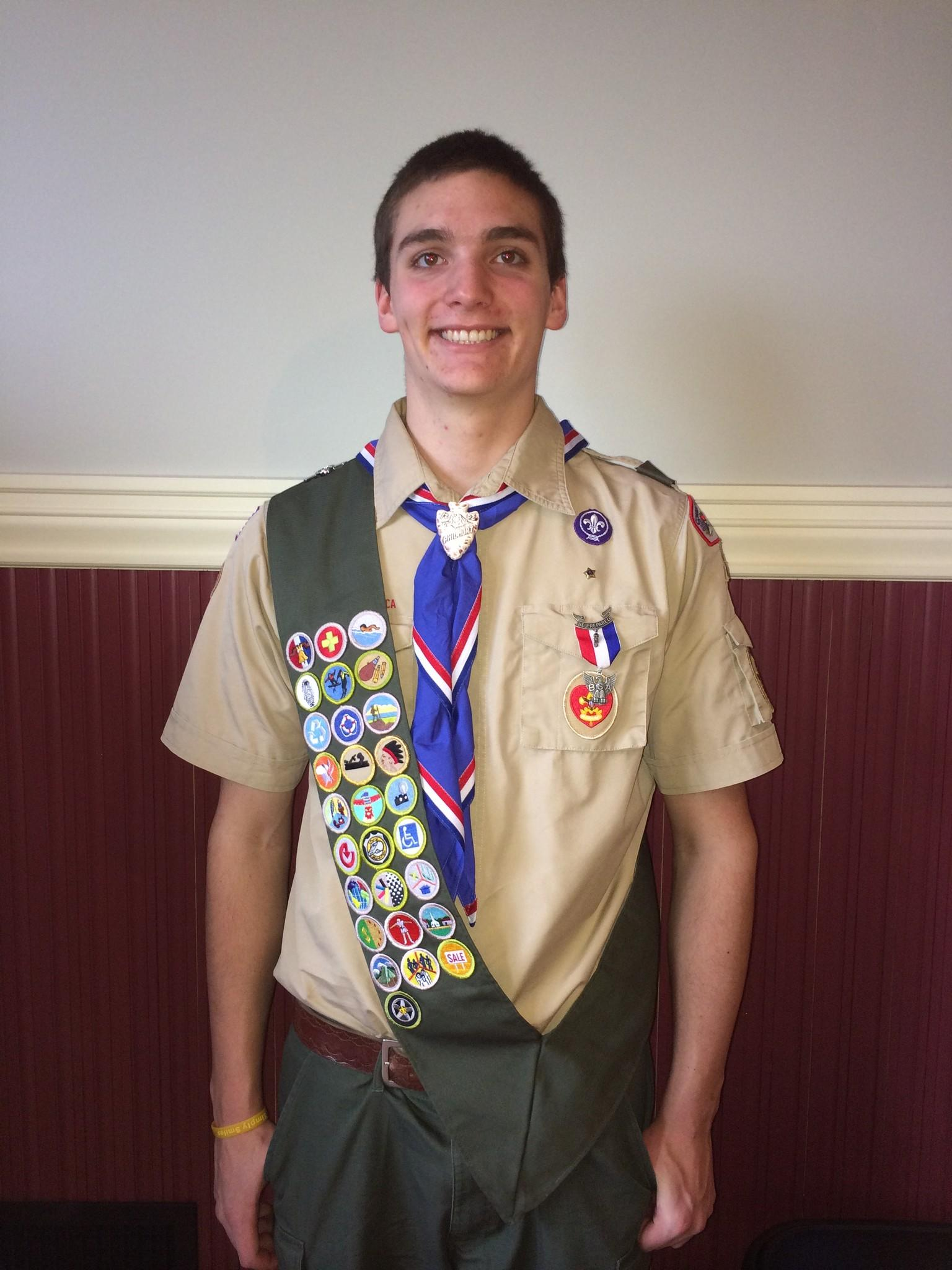 Chester/Deep River Boy Scout Troop 13 newest Eagle Scout Dillon Eriksson.