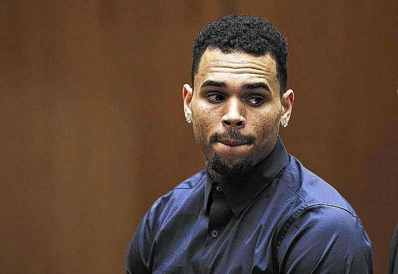 Chris Brown appears for a probation progress hearing at the Clara Shortridge Foltz Criminal Justice Center in Los Angeles.