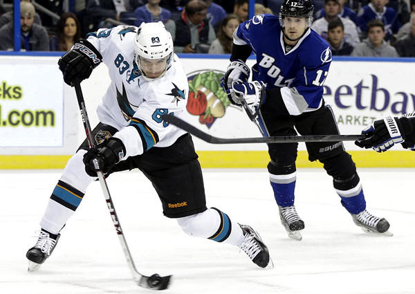 Sharks rookie winger Matt Nieto fires a shot against the Lightning during a game earlier this season. Nieto has 10 goals, 11 assists and a plus-3 rating in 55 games this season.