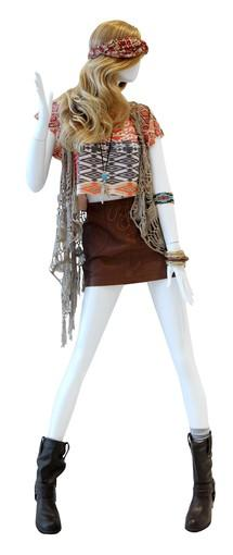 <b>Tip:</b> Opposites attract, ethnic print shirt and jewelry with biker boots; texture on texture, boho crochet fringe with pleather mini<br> <br> <b>On mannequin:</b> Headband, $4.80; shirt, $12.80; vest, $24.80; skirt, $15.80; necklace, $4.80; beaded bracelet, $6.80; other bracelets, from $3.80; biker boots, $32.80<br> <br> All fashions from Forever 21, forever21.com.