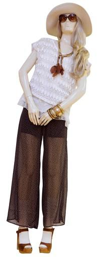 <b>Tip: </b>Texture on texture, crochet over lace top over chiffon palazzo pants; combine opposites, feather jewelry, crochet<br> <br> <b>On mannequin:</b> Hat, $12.80; sunglasses, $5.80; crochet top, $17.80, over lacy tank, $17.80; similar necklaces, from $3.80; pants, $19.80; shoes, $28.80<br> <br> All fashions from Forever 21, forever21.com.