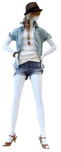 """<b>Tip: </b>Ignore trends that don't flatter; combine opposites, denim with sparkly sequin T-shirt and ethnic """"bone"""" necklaces<br> <br> <b>On mannequin:</b> Hat, $9.80; men's shirt, $25.90; sequin striped top, $17.80; necklaces (2), $3.80 each; shorts, $18.90; similar bracelets, from $3.80; shoes, $26.80.<br> <br> All fashions from Forever 21, forever21.com."""