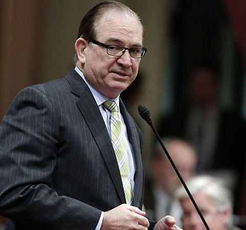 California Senate Minority Leader Bob Huff debates a campaign finance bill at the Capitol in Sacramento on Monday.