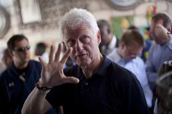 Former President Bill Clinton during a recent visit to Haiti.  Clinton says that his vegan diet is improving his cardiovascular health.