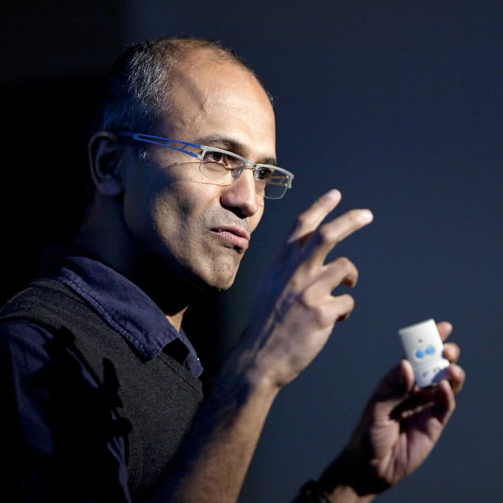 Satya Nadella, now CEO of Microsoft, speaks during a Microsoft Search Summit event in San Francisco in 2010.