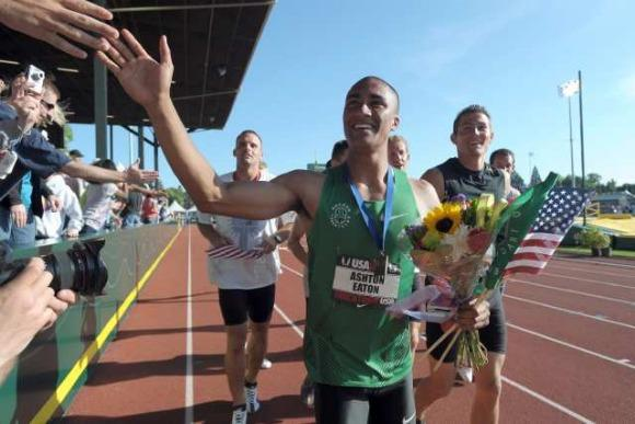 Decathlete Ashton Eaton celebrates his 2011 U.S. title. (Steve Dykes / Reuters)