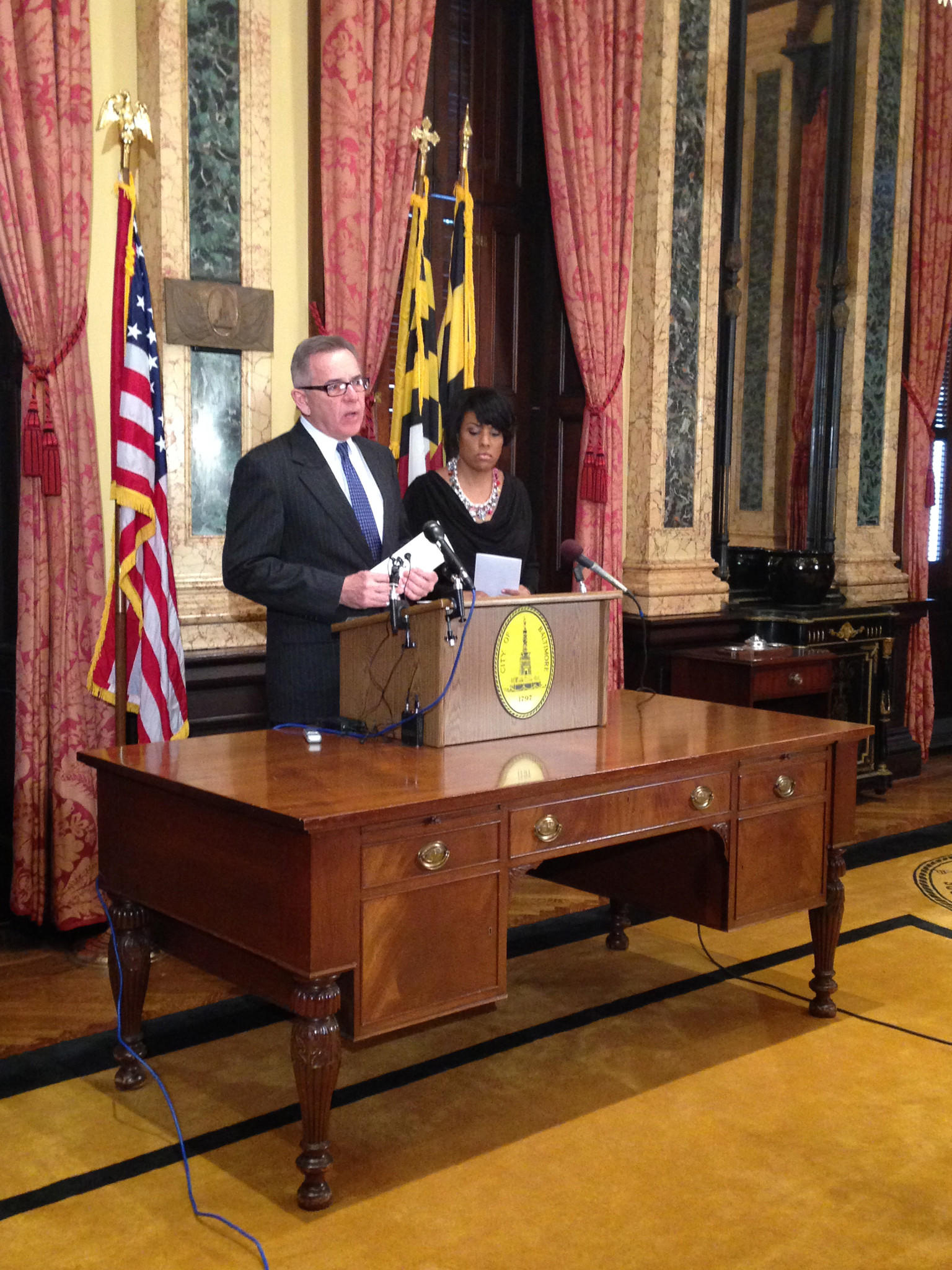 Baltimore Inspector General Robert H. Pearre Jr. and Mayor Stephanie Rawlings-Blake speak at a press conference about suspected subcontracting fraud in the mayor's information technology department.