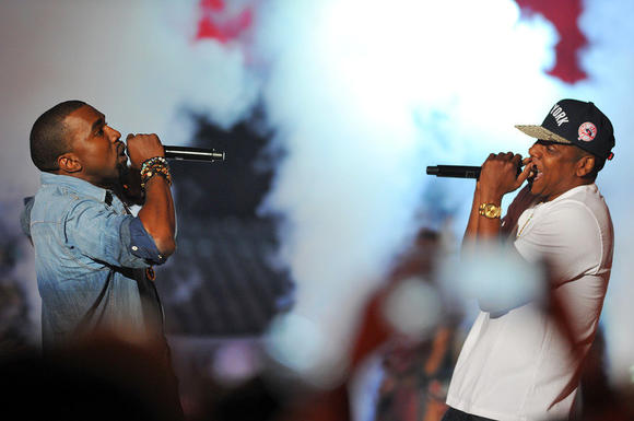 "Kanye West and Jay-Z performed ""Otis"" at the VMAs. Sadly, there was no chopped-up Maybach on stage."