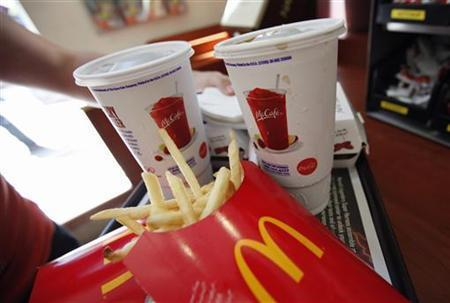 A tray of McDonald's food at a restaurant in Times Square in New York City.