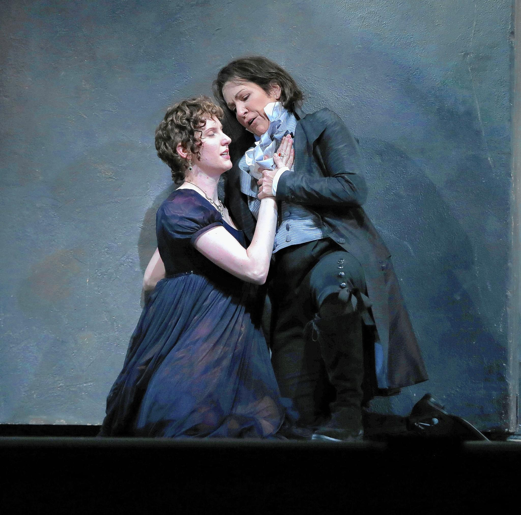 "Amanda Majeski (left) plays Vitellia and Joyce DiDonato plays Sesto in a dress rehearsal of Mozart's ""La Clemenza di Tito"" at the Civic Opera House."