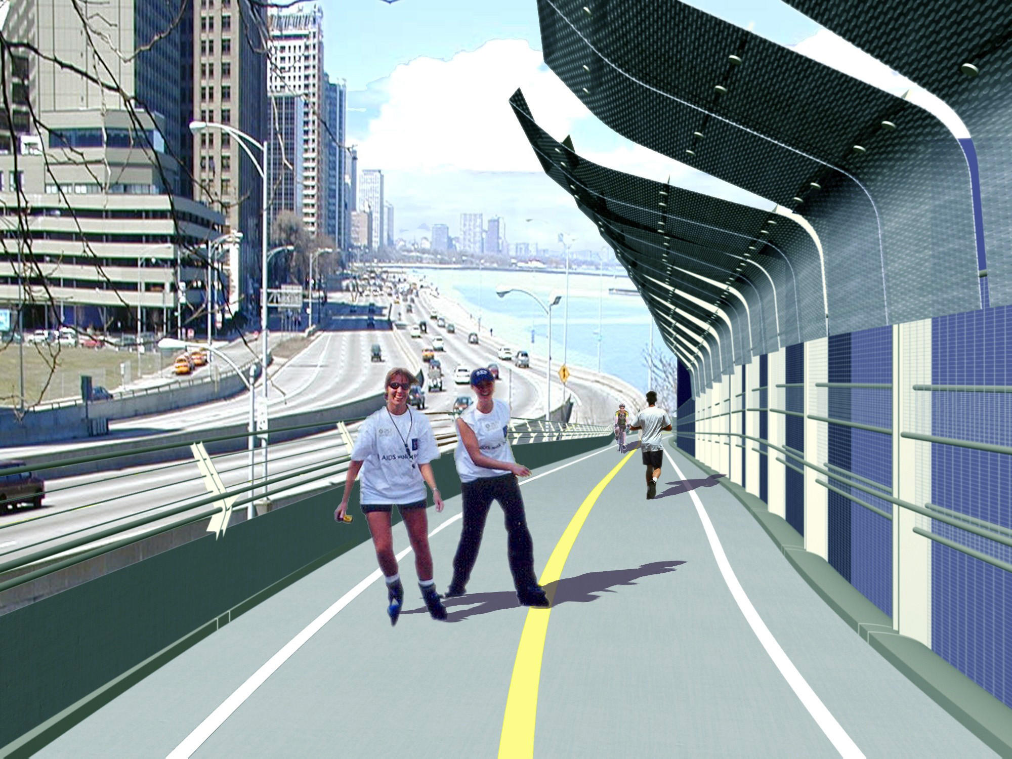 A computer-generated image of a proposed bicycle path alongside Lake Shore Drive near Navy Pier.