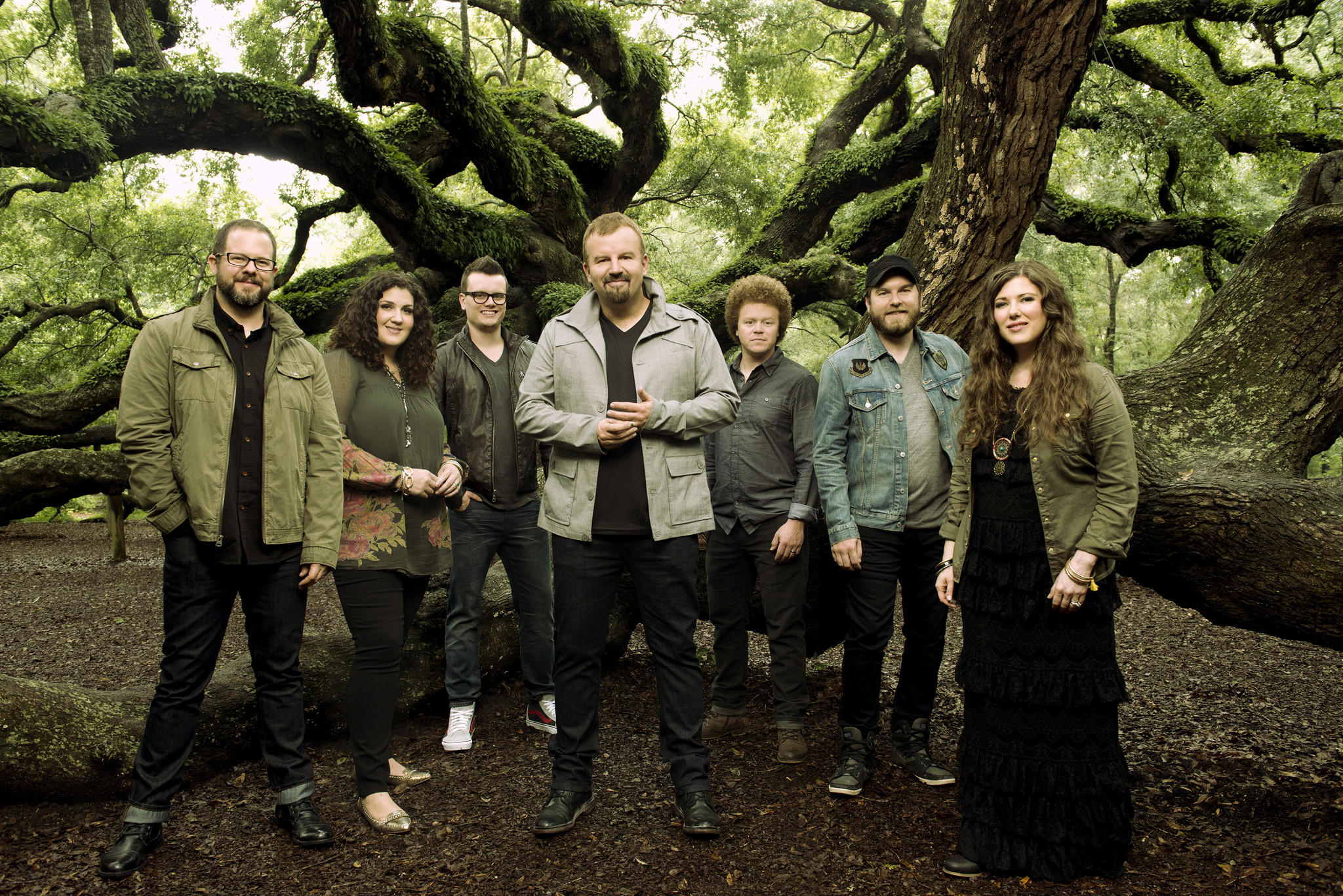 Christian rock act Casting Crowns, led by singer Mark Hall (center).