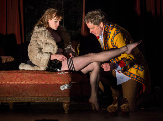 Amanda Drinkall (Vanda) and Rufus Collins (Thomas) in Venus in Fur by David Ives, directed by Joanie Schultz at Goodman Theatre (March 8 ¿ April 13, 2014). www.goodmantheatre.org/venus