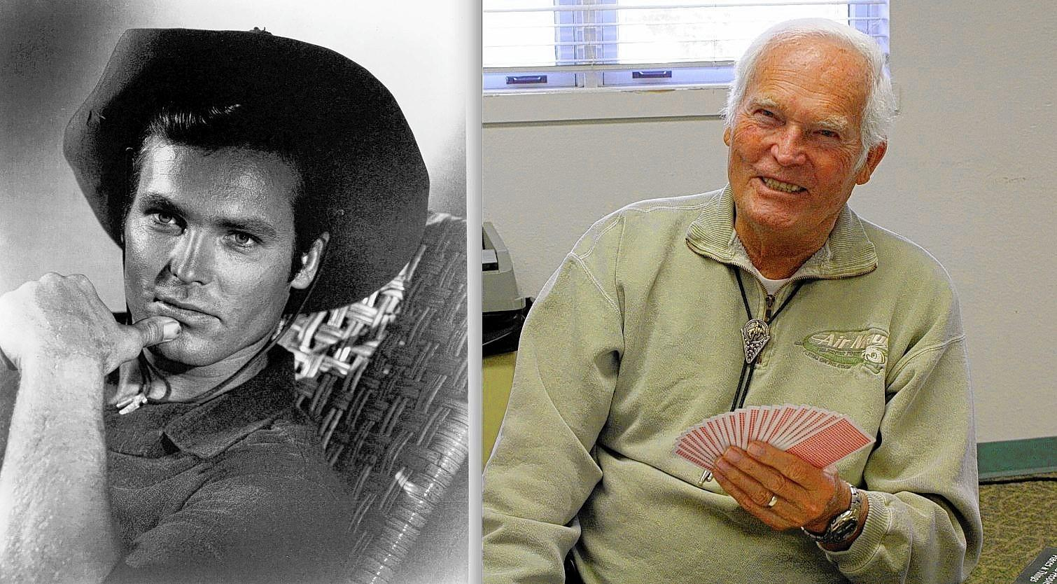 Ty Hardin, who starred in many Westerns and TV shows back in the 1950s and 60s. At right, he plays cards at the Rodgers' Senior Center in Huntington Beach.