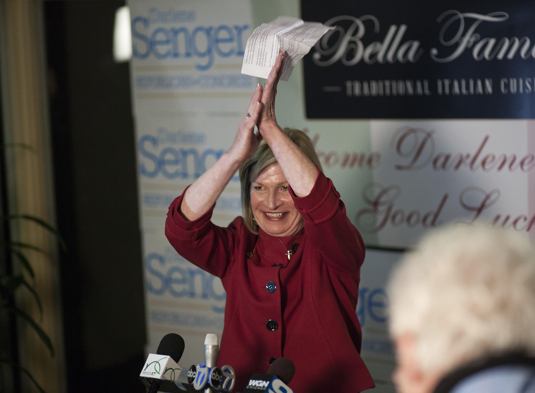 State Representative and 11th Congressional District Republican candidate Darlene Senger declares victory in the primary election at the Bella Familia restaurant in Naperville on Tuesday night. (Corey R. Minkanic, for the Chicago Tribune)