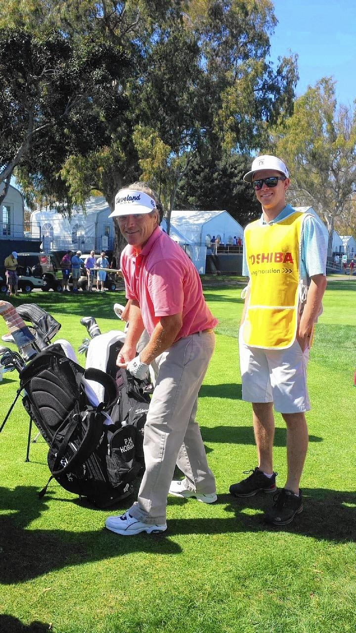 Thomas Terry, right, a Newport Harbor HIgh senior, caddied for P.H. Horgan III at the Toshiba Classic.