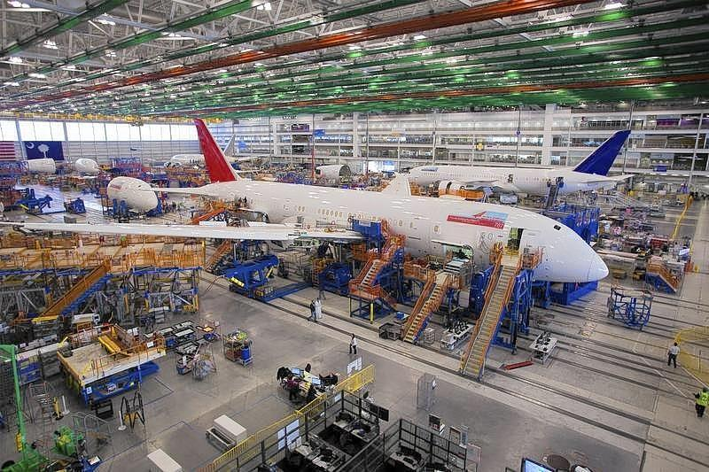 A 787 Dreamliner being built for India Air is pictured at South Carolina Boeing final assembly building in North Charleston, South Carolina on Dec. 19, 2013.