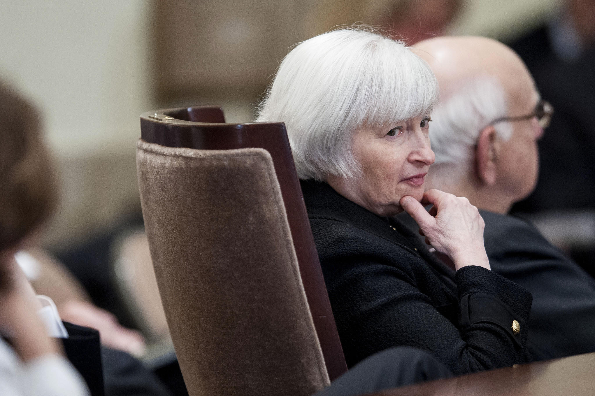 Janet Yellen, vice chairman of the U.S. Federal Reserve and Paul Volcker, former Fed chairman, attend an event commemorating the Federal Reserve Act, the legislation that created the central bank, in Washington, D.C. on Monday, Dec. 16.