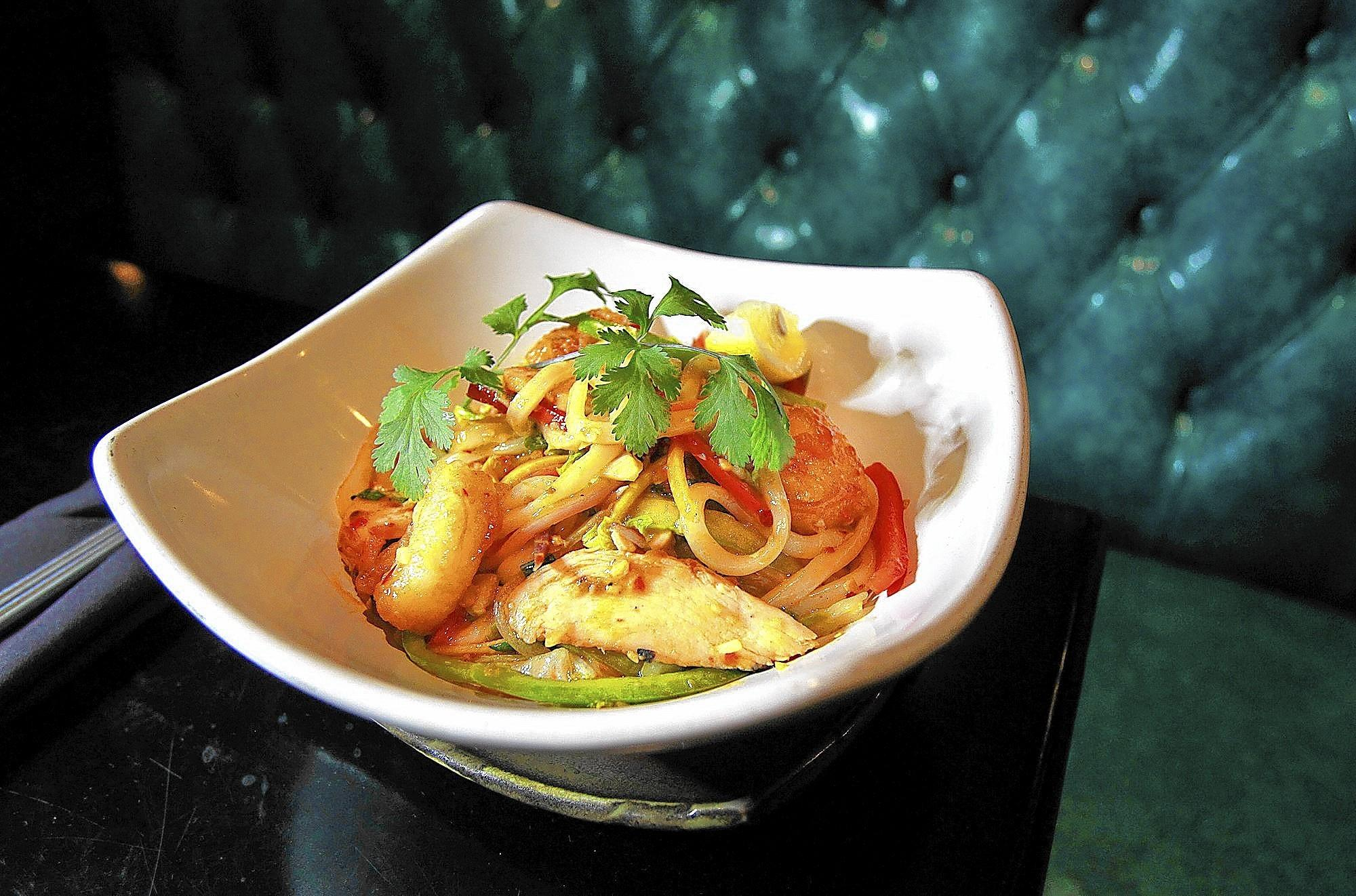 The Bangkok spicy udon noodles, made by Starfish Laguna Beach chef Marco Romero.