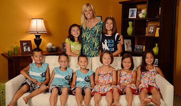 Kate Gosselin, back row center, poses with her eight children.