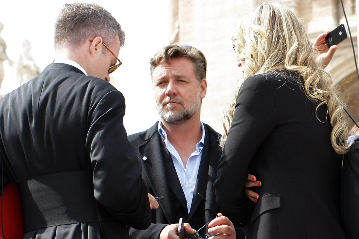 Russell Crowe attends Pope Francis' weekly audience in St. Peter's Square on Wednesday in Vatican City.