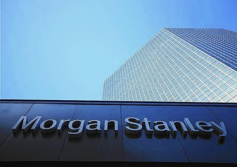 The corporate logo for financial firm Morgan Stanley is pictured on a building in San Diego, California.