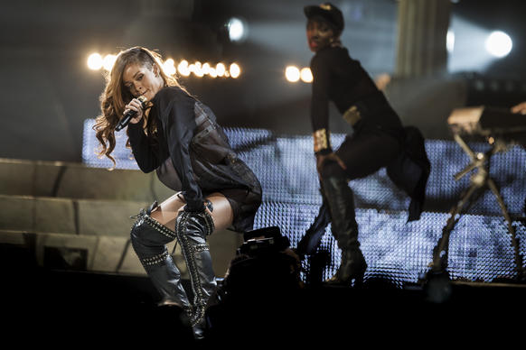 Rihanna, left, and Eminem have joined forces for a three-city stadium tour this summer that includes a stop at the Rose Bowl. It's uncertain whether the two will take