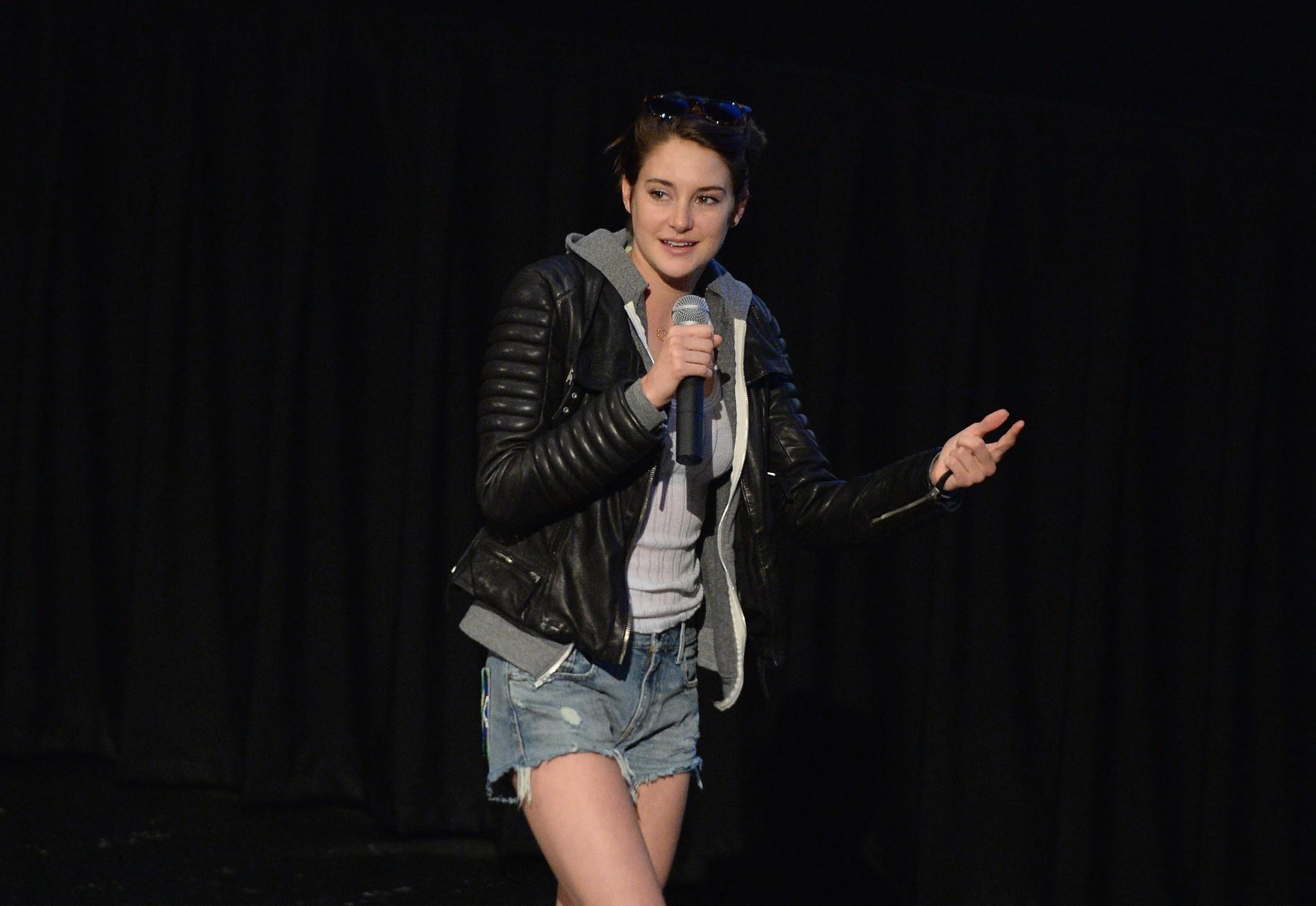 "Actress Shailene Woodley speaks at a screening of ""Divergent"" in Thousand Oaks."
