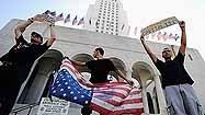 Protesters set up camp in front of Los Angeles City Hall