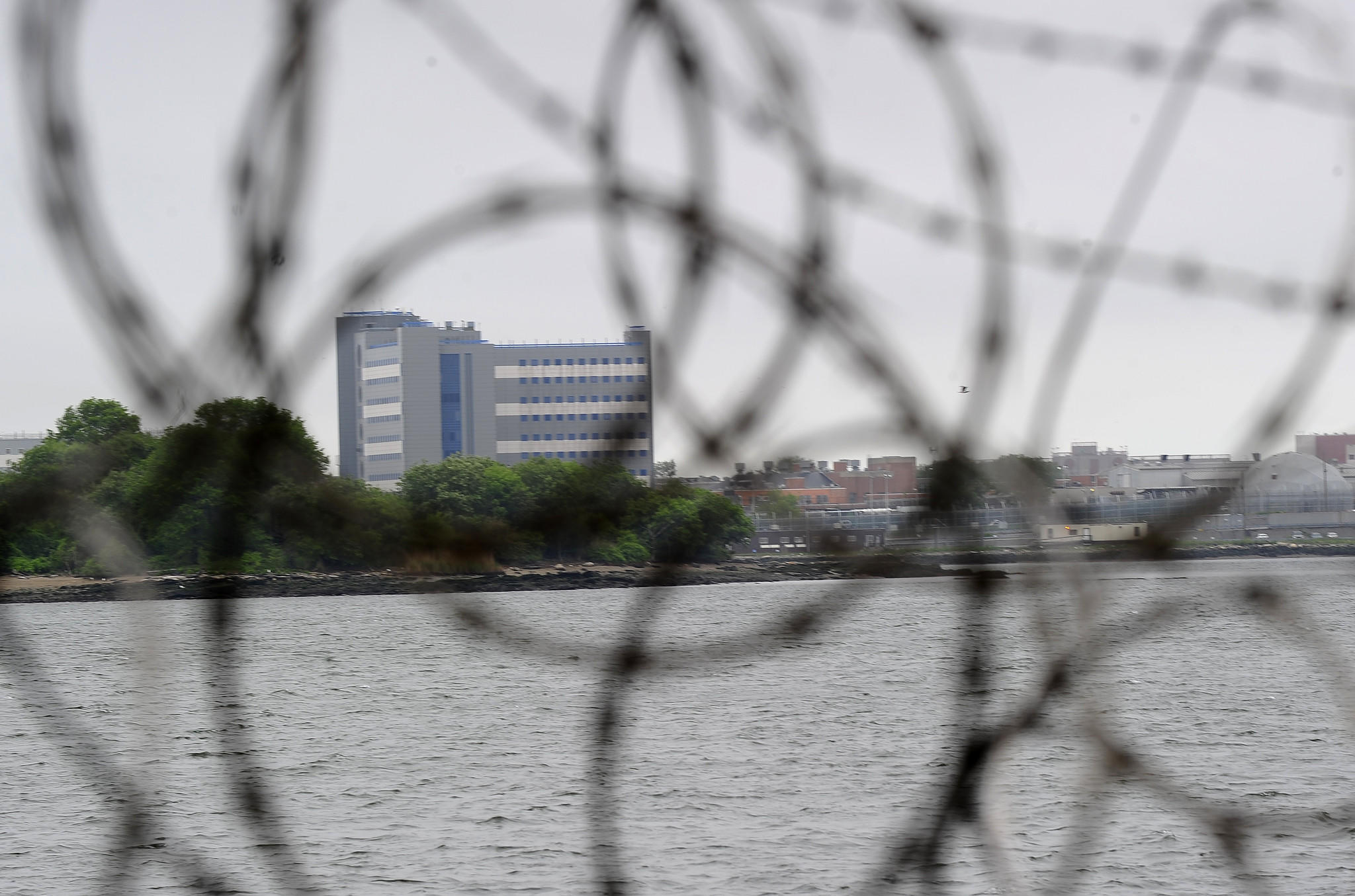 A view of buildings at the Rikers Island penitentiary complex.
