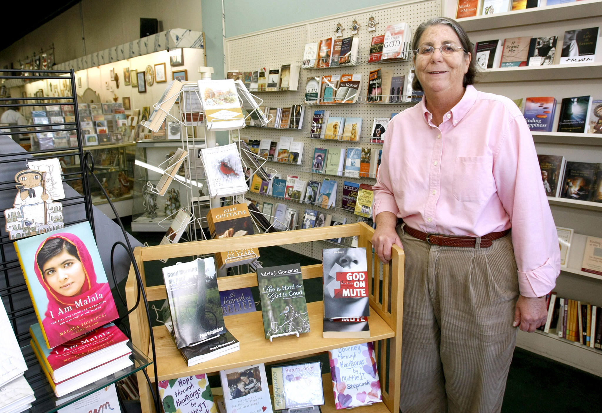 Christine Stafford, owner of the Flowering Tree, at her books and gift store on the 2200 block of Honolulu Ave. in Montrose on Wednesday, March 19, 2014. After more than 20 years in business, Stafford will close the store if she can't find a buyer for the business soon. (