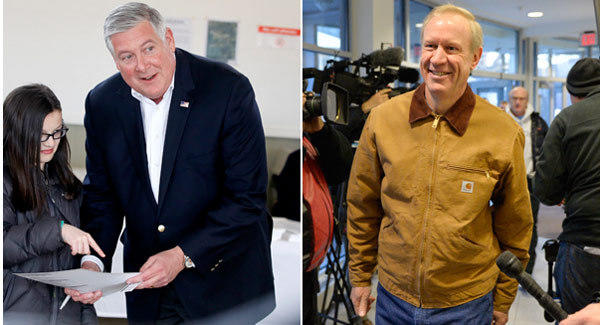 Kirk Dillard, left, and Bruce Rauner competed for the Republican nomination for Illinois governor.