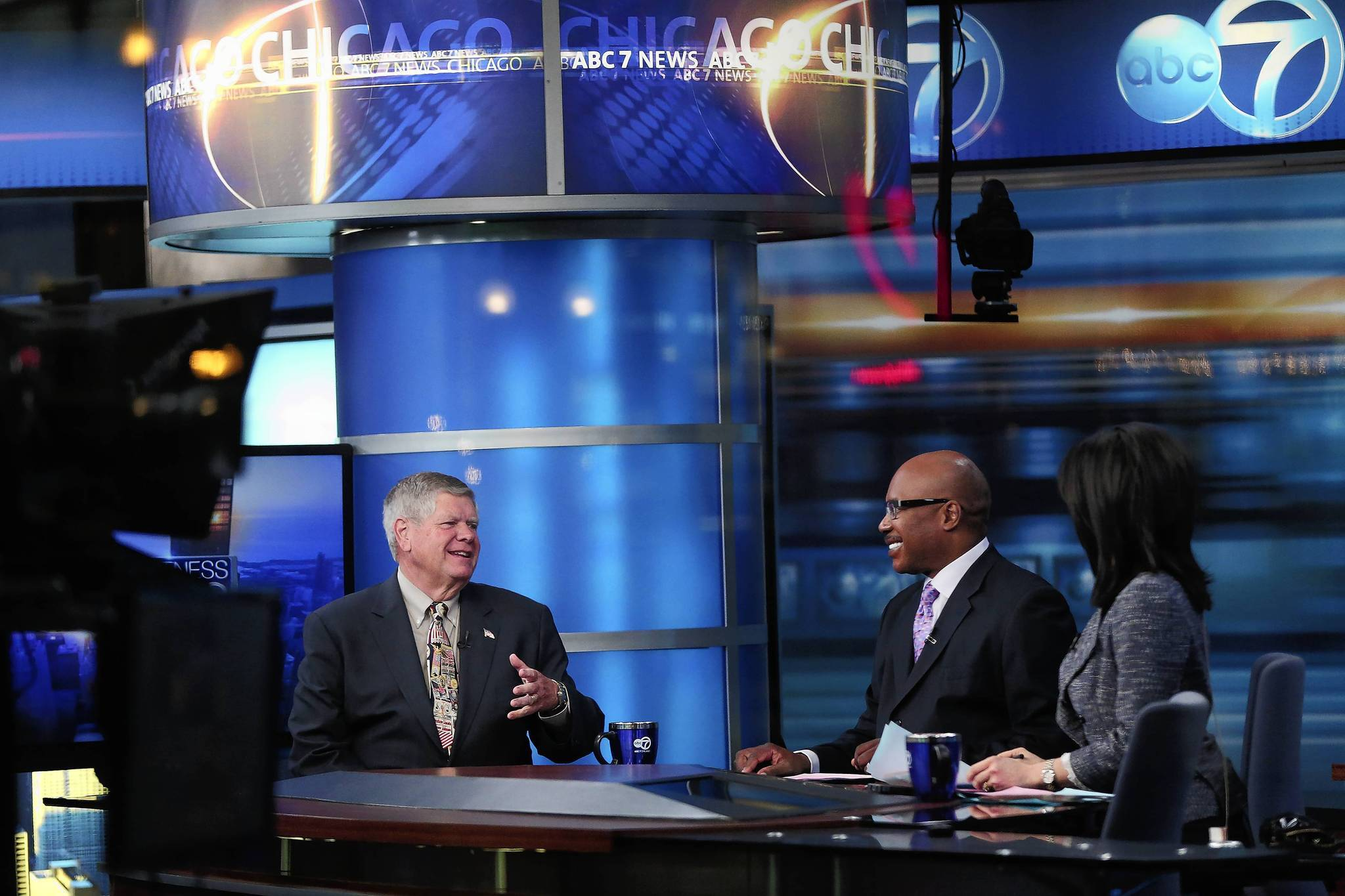 Newly-elected Illinois Republican U.S. Senate candidate Jim Oberweis is interviewed at the ABC 7 studios.