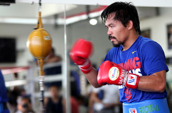 Manny Pacquiao works with the speed bag during a training session earlier this month in General Santos City, Philippines.