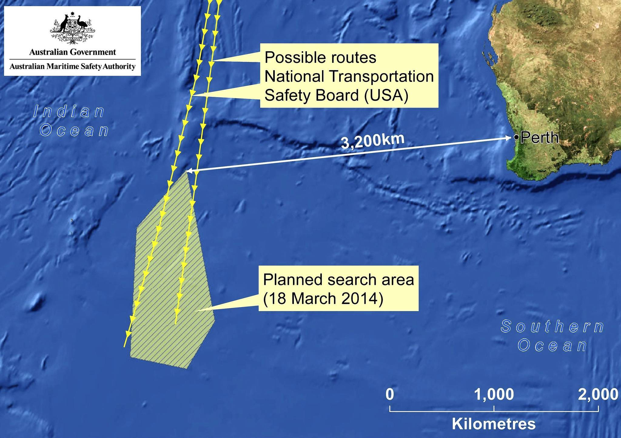 A handout picture made available by the Australian Maritime Safety Authority (AMSA) shows a map of the search area for missing Malaysia Airlines flight MH370. Objects possibly related to the search for the missing Malaysia Airlines plane have been spotted in the southern Indian Ocean.