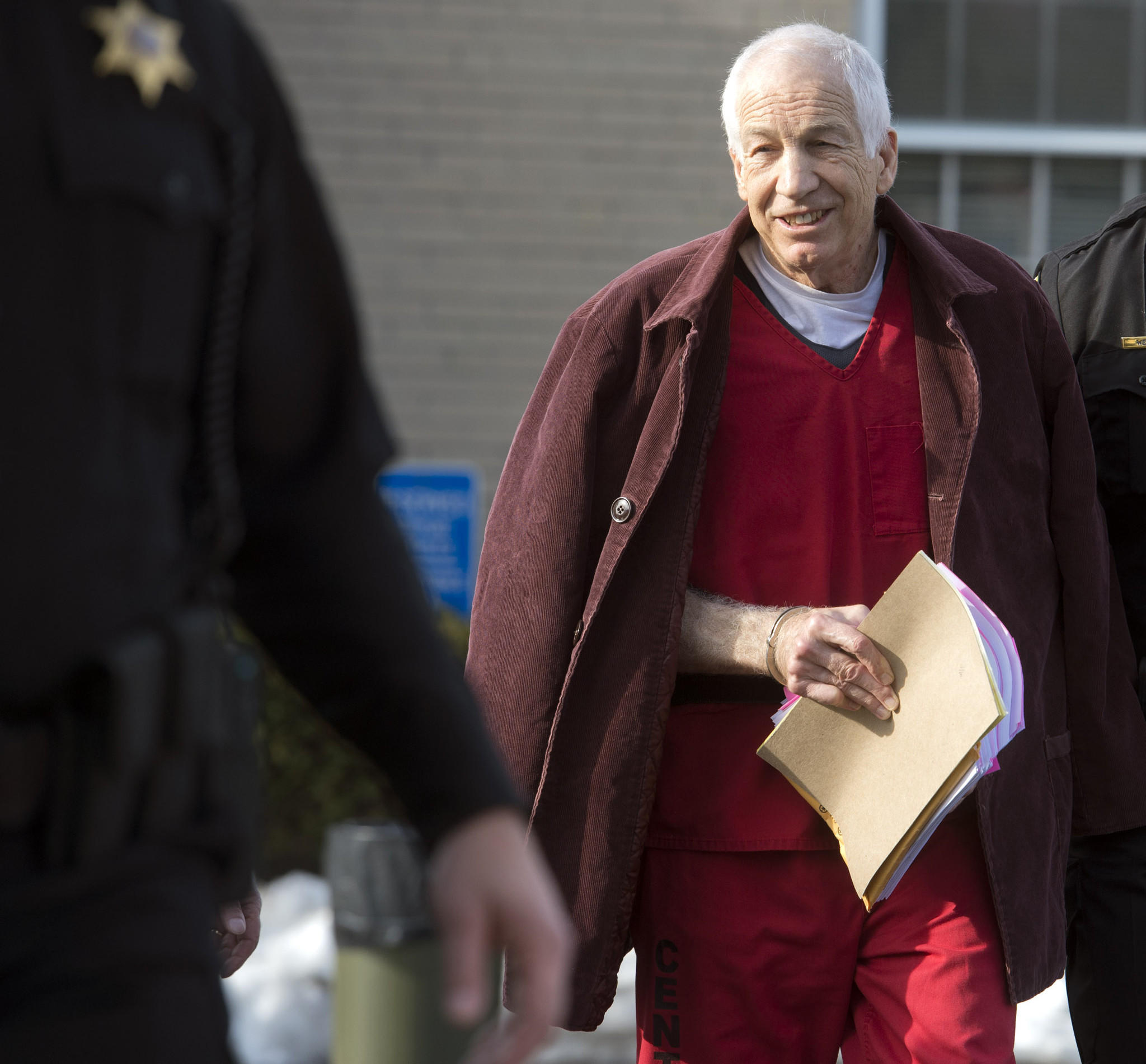In this file photo, Jerry Sandusky leaves after a hearing at the Centre County Courthouse in Bellefonte on January 10, 2013.