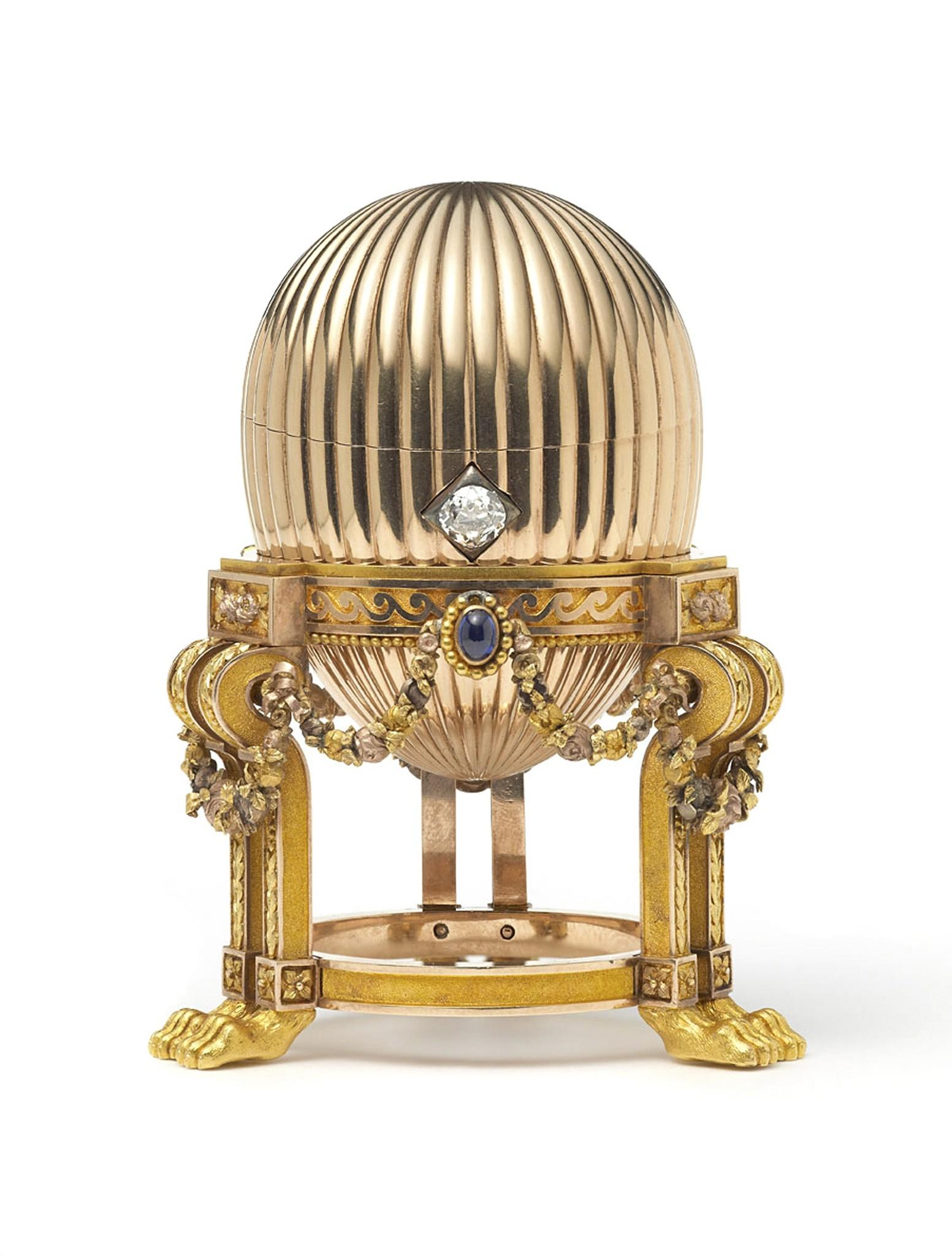 One of the missing Imperial Faberge Easter Eggs made for the Russian Royal family is seen in this handout photograph received via Wartski in London March 20, 2014. When a scrap metal dealer from the Midwestern United States bought a golden ornament at a junk market, it never crossed his mind that he was the owner of the opulent $20 million Faberge egg hailing from Russia's imperial court. REUTERS/Prudence Cuming Associates/Wartski/Handout via Reuters (BRITAIN - Tags: ENTERTAINMENT SOCIETY ROYALS) ATTENTION EDITORS - NO COMMERCIAL OR BOOK SALES. NO SALES. NO ARCHIVES. FOR EDITORIAL USE ONLY. NOT FOR SALE FOR MARKETING OR ADVERTISING CAMPAIGNS. THIS IMAGE HAS BEEN SUPPLIED BY A THIRD PARTY. IT IS DISTRIBUTED, EXACTLY AS RECEIVED BY REUTERS, AS A SERVICE TO CLIENTS ORG XMIT: LON002