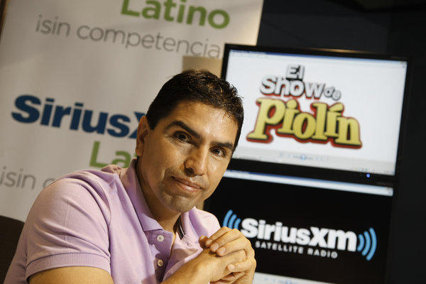 "Eddie ""Piolin"" Sotelo is photographed in the offices of SiriusXM satellite radio."