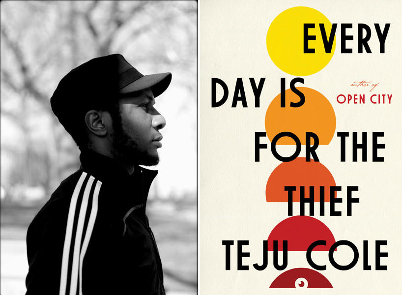 "Author Teju Cole and the cover of his book, ""Every Day is For the Thief."""