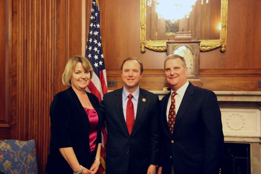 From right to left, La Cañada Mayor Pro Tem Mike Davitt with Rep. Adam Schiff (D-Burbank) and Davitt's wife, left, earlier this month at the National League of Cities Conference in Washington, D.C.