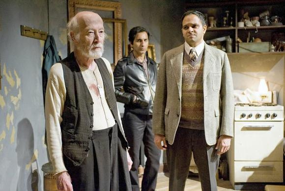 "William J. Norris (as Davies), Kareem Bandealy (Mick) and Anish Jethmalani (Aston) in ""The Caretaker."""