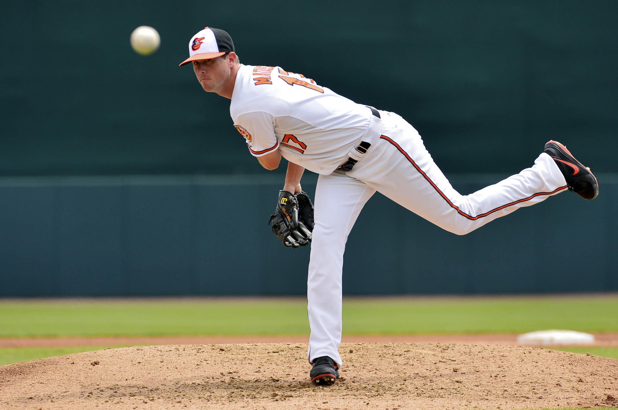 Orioles left-hander Brian Matusz pitches during the fourth inning at Ed Smith Stadium.
