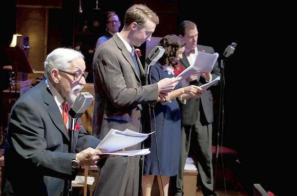 "Mike Nussbaum, Chris McLinden, Mary Winn Heider and Chris Amos in ""It's a Wonderful Life: The Radio Play."""