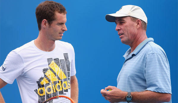 Andy Murray, left, speaks to then-coach Ivan Lendl in January during practice ahead of the Australian Open at Melbourne Park.
