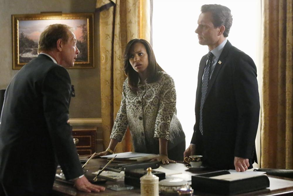 "Jeff Perry, Kerry Washington and Tony Goldwyn in the ""Kiss Kiss Bang Bang"" episode of ABC's ""Scandal."""