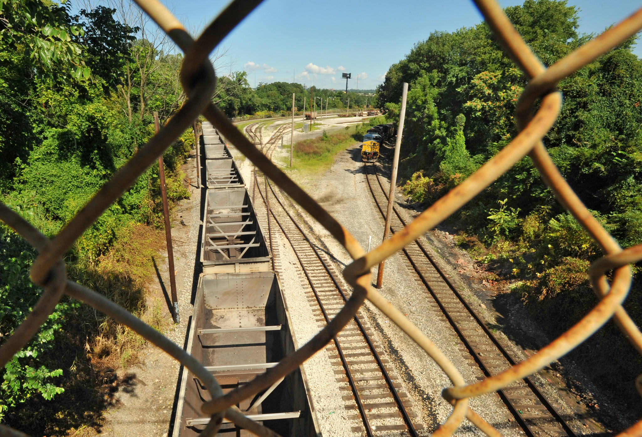Baltimore, MD - 8/5/13 - md-intermodal-study-p02-davis --view of CSX tracks from the Washington Blvd. bridge in Morrell Park. A study has just been released about the health impacts of the intermodal in Morrell Park. Amy Davis/ Baltimore Sun Staff Photographer - #4471